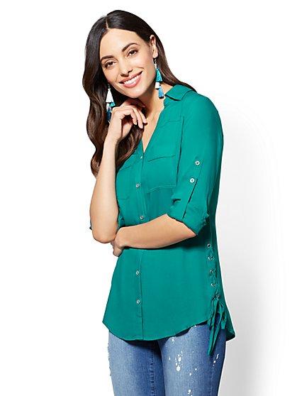 Soho Soft Shirt - Lace-Up Detail - New York & Company
