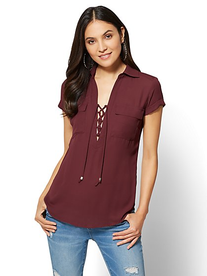 Soho Soft Shirt - Lace-Up Short Sleeve  - New York & Company