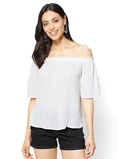 Soho Soft Shirt - Lurex Off-The-Shoulder Blouse - New York & Company