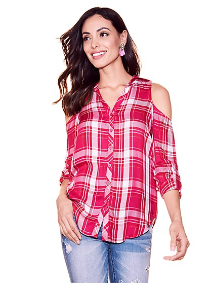 Soho Soft Shirt - Metallic Plaid Cold-Shoulder - New York & Company