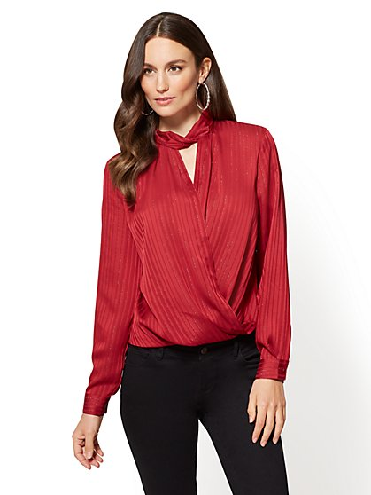 Soho Soft Shirt - Mock-Neck Wrap - New York & Company
