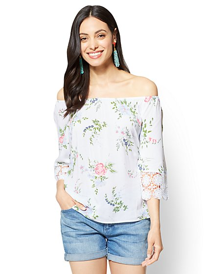 Soho Soft Shirt - Off-The-Shoulder Blouse - Floral - New York & Company