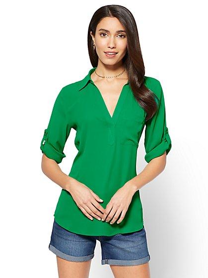 Soho Soft Shirt - One Pocket Popover - Solid - New York & Company
