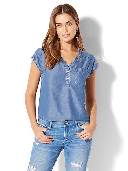 Soho Soft Shirt - One-Pocket Short Sleeve - Ultra-Soft Chambray - New York & Company