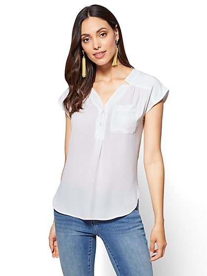 Soho Soft Shirt - One-Pocket Short Sleeve - New York & Company