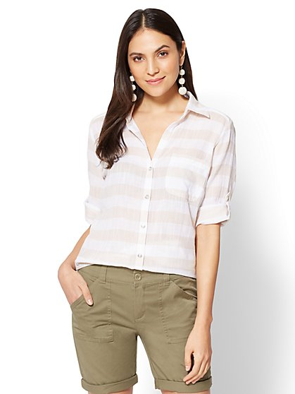 Soho Soft Shirt - One-Pocket - Stripe - New York & Company