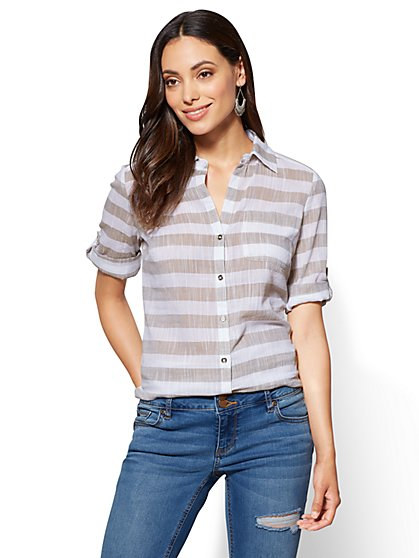 Soho Soft Shirt - One-Pocket - Stripe - New York & Company