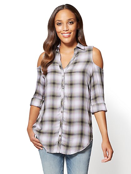 Soho Soft Shirt - Plaid Cold-Shoulder Shirt - New York & Company