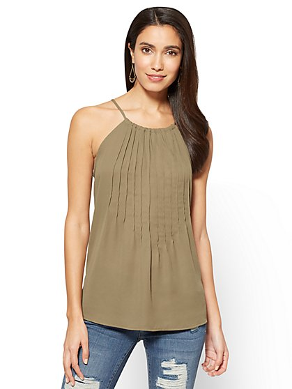 Soho Soft Shirt - Pleated Halter Blouse - New York & Company