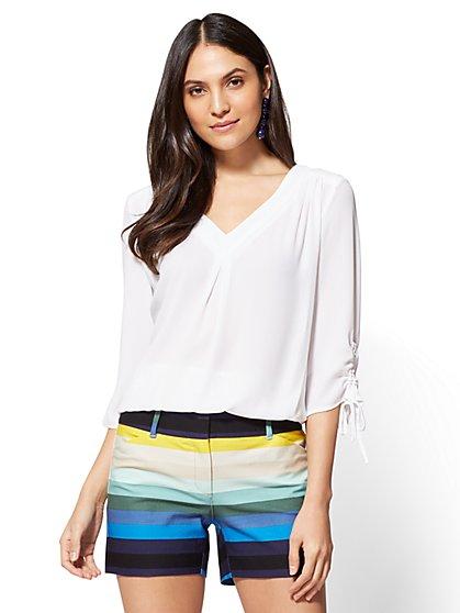 Soho Soft Shirt - Pleated V-Neck Blouse - New York & Company