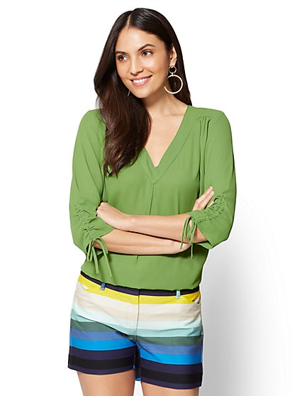 Soho Soft Shirt - Pleated V-Neck Blouse - New York & Company