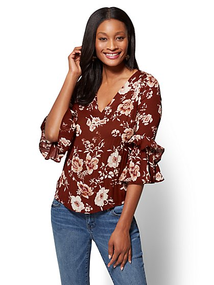 Soho Soft Shirt - Ruffled V-Neck - Floral - New York & Company
