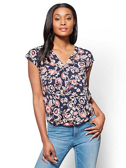 Soho Soft Shirt - Short-Sleeve Wrap Blouse - Print - New York & Company