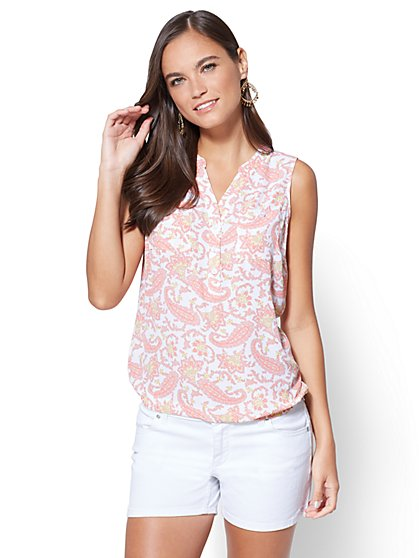 Soho Soft Shirt - Sleeveless Bubble-Hem Blouse - Floral - New York & Company
