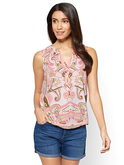 Soho Soft Shirt - Sleeveless Bubble-Hem Blouse - Paisley - New York & Company