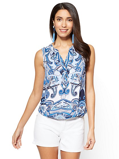 Soho Soft Shirt - Sleeveless Bubble-Hem Blouse - Paisley - New York & Company