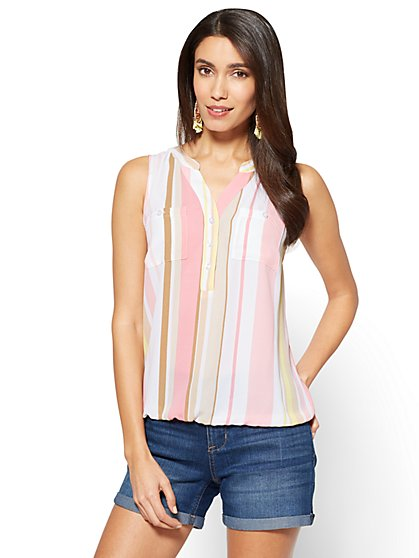 Soho Soft Shirt - Sleeveless Bubble-Hem Blouse - Stripe - New York & Company