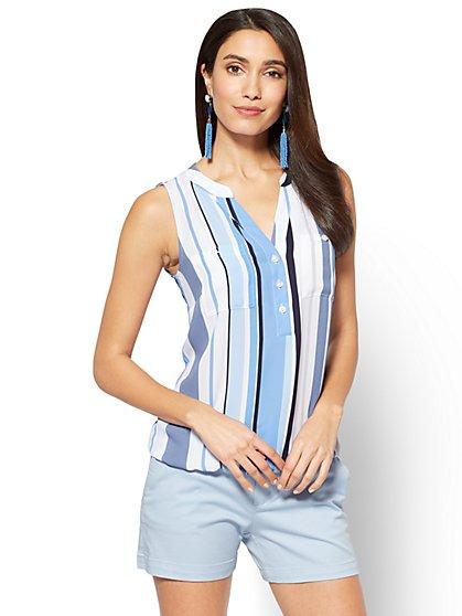 Soho Soft Shirt - Sleeveless Bubble-Hem Blouse - Stripe - New York & Company