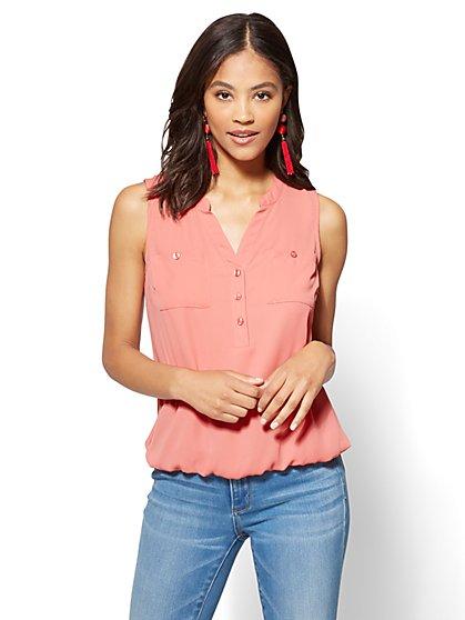 Soho Soft Shirt - Sleeveless Bubble-Hem Blouse - New York & Company