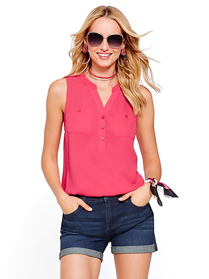 Soho Soft Shirt - Sleeveless Bubble-Hem Blouse - New York & Company