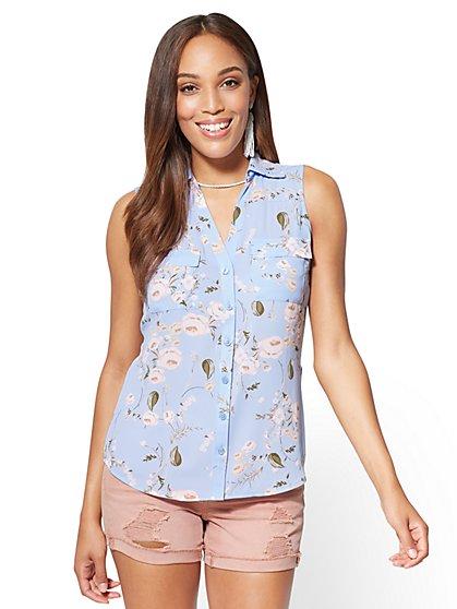 Soho Soft Shirt - Sleeveless Envelope Back - Floral - New York & Company