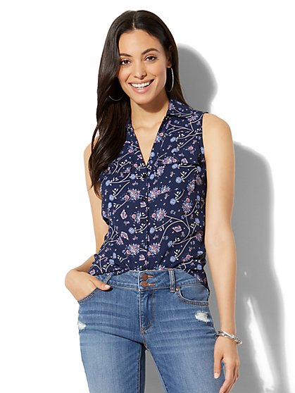 Soho Soft Shirt - Sleeveless - Floral & Paisley Print - New York & Company