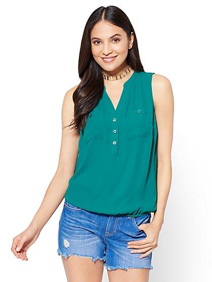 Soho Soft Shirt - Sleeveless Popover Blouse - New York & Company