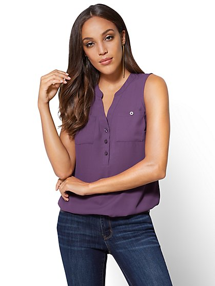 Soho Soft Shirt - Sleeveless Popover Blouse - New York & Company