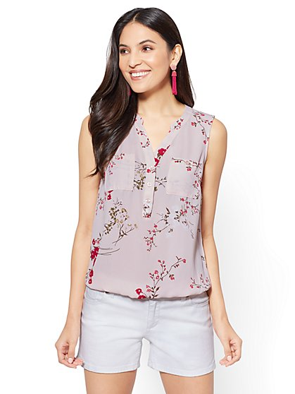 Soho Soft Shirt - Sleeveless Popover - Floral - New York & Company