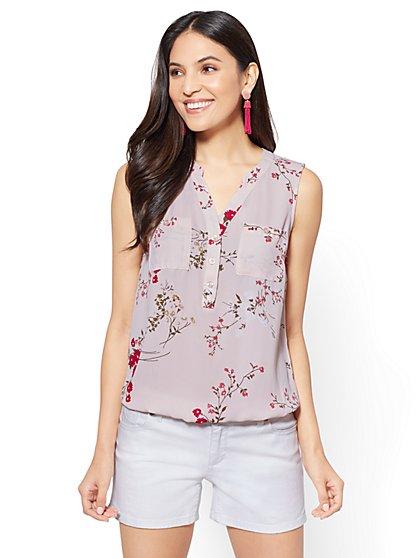 Soho Soft Shirt - Sleeveless Popover - Floral - New York & Company
