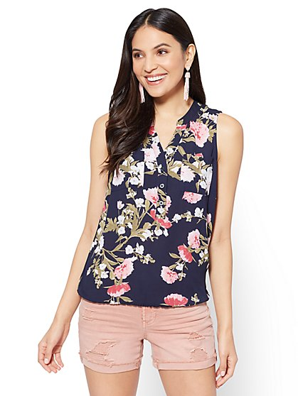 Soho Soft Shirt - Sleeveless Popover - Navy - Peony Print - New York & Company