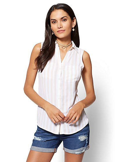 Soho Soft Shirt - Sleeveless - Stripe - New York & Company