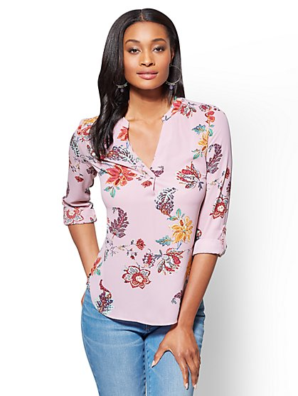 Soho Soft Shirt - Split-Neck - Floral - New York & Company