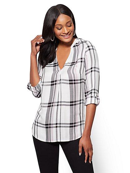 Soho Soft Shirt - Split-Neck - Plaid - New York & Company