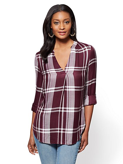 Soho Soft Shirt - Split-Neck - Plaid - New York & Company