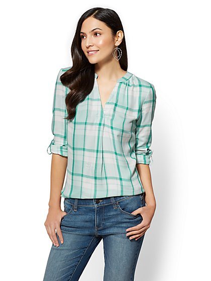 Soho Soft Shirt - Split-Neck Popover - Plaid - New York & Company