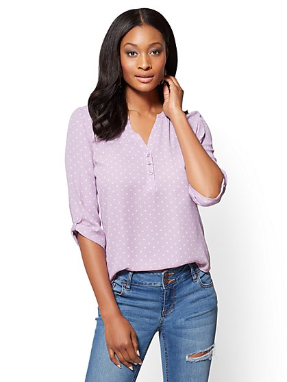 Soho Soft Shirt - Split-Sleeve V-Neck Blouse - Polka-Dot Print - New York & Company