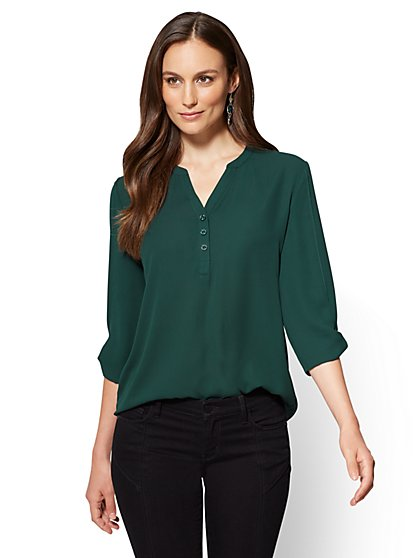 Soho Soft Shirt - Split-Sleeve V-Neck Blouse - New York & Company