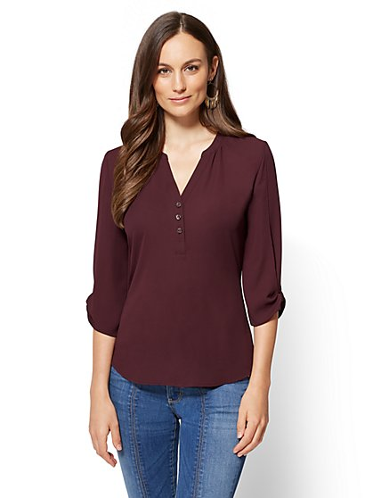 Soho Soft Shirt - Split-Sleeve V-Neck Blouse - New York & Company