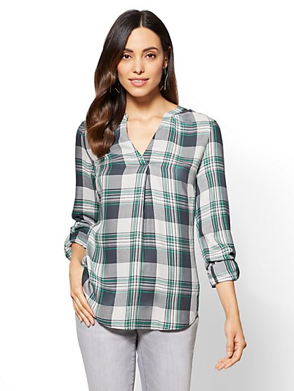 Soho Soft Shirt - Splitneck Popover - Plaid - New York & Company
