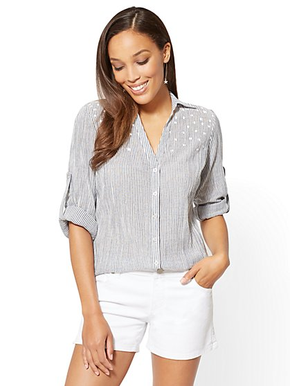 Soho Soft Shirt - Stripe & Star Print - New York & Company