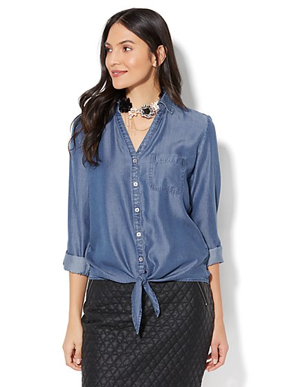 Soho Soft Shirt - Tie-Front Hi-Lo Shirt - Ultra-Soft Chambray - Indigo Blue Wash - New York & Company