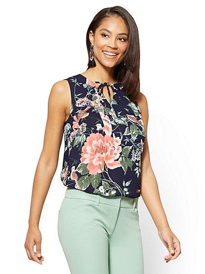 Soho Soft Shirt - Tie-Front Sleeveless Blouse - Print - New York & Company