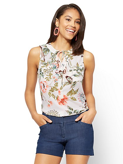 Soho Soft Shirt - Tie-Front Sleeveless Blouse - Print - New York & Company