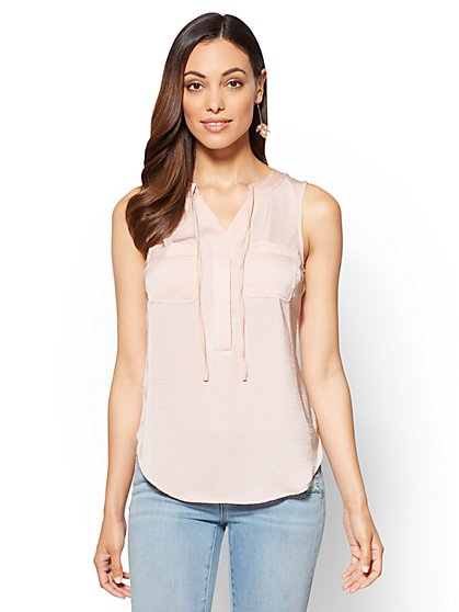 Soho Soft Shirt - Tie-Front Sleeveless Blouse - New York & Company
