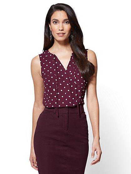 Soho Soft Shirt - Tie-Front Sleeveless Blouse - New York & Company
