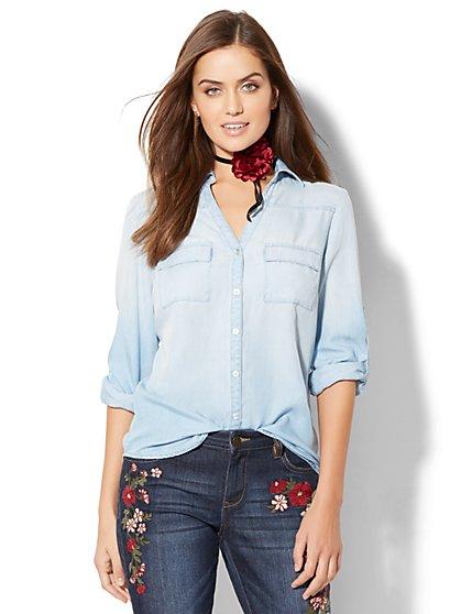 Soho Soft Shirt - Ultra-Soft Chambray - Light Blue - New York & Company