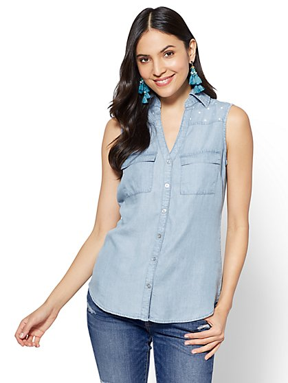 Soho Soft Shirt - Ultra-Soft Chambray - Star Print - Light Indigo - New York & Company