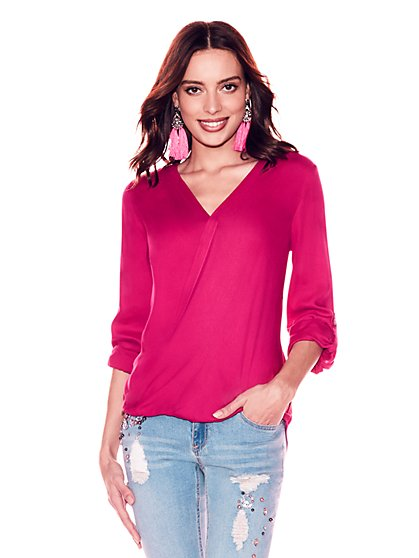 Soho Soft Shirt - V-Neck Wrap Blouse - New York & Company
