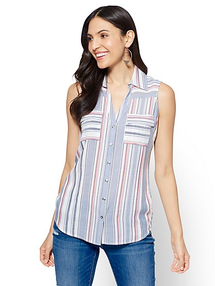 Soho Soft Shirt - White - Mixed Stripe - New York & Company